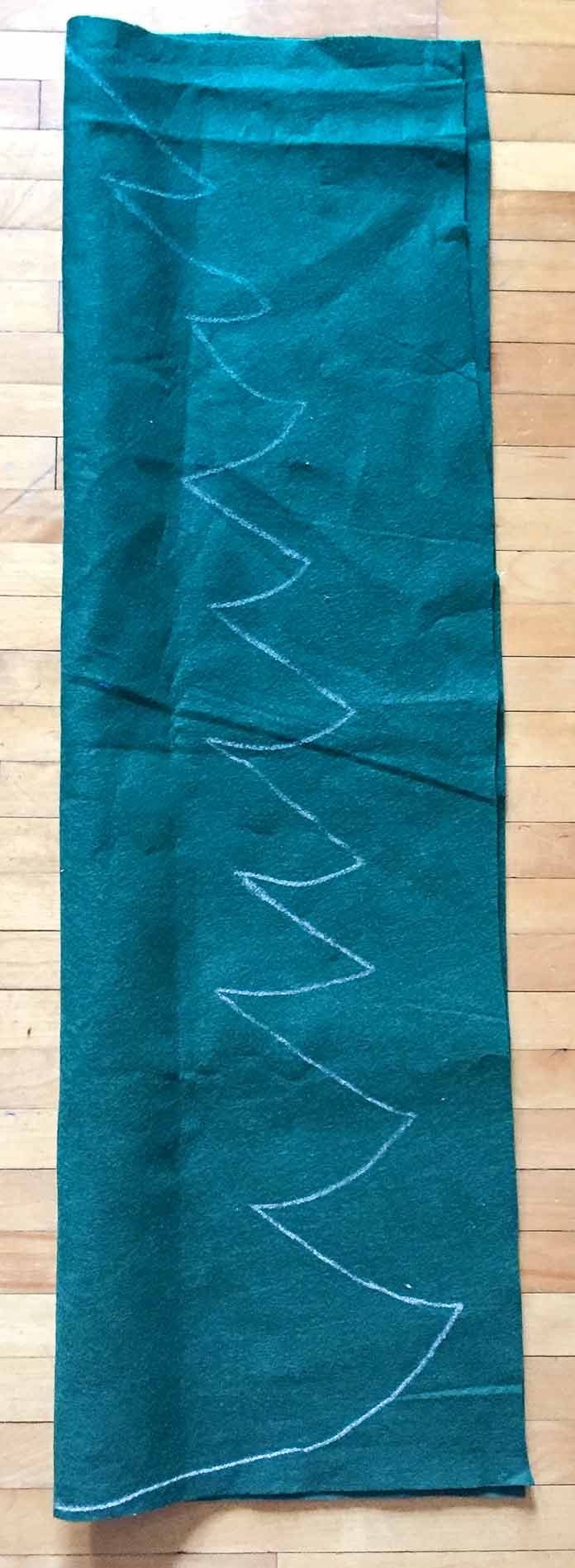 Draw the Christmas tree with a chalk pencil on Kunin Rainbow ClassicFelt in green