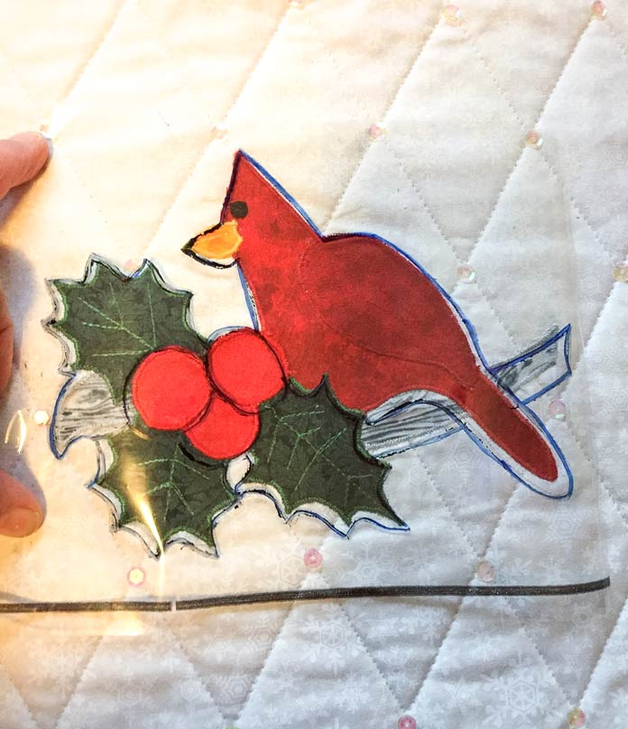 Make a placement guide for applique using UNIQUE longarm pattern tracing film