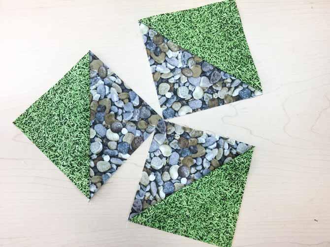 3 half square triangle blocks