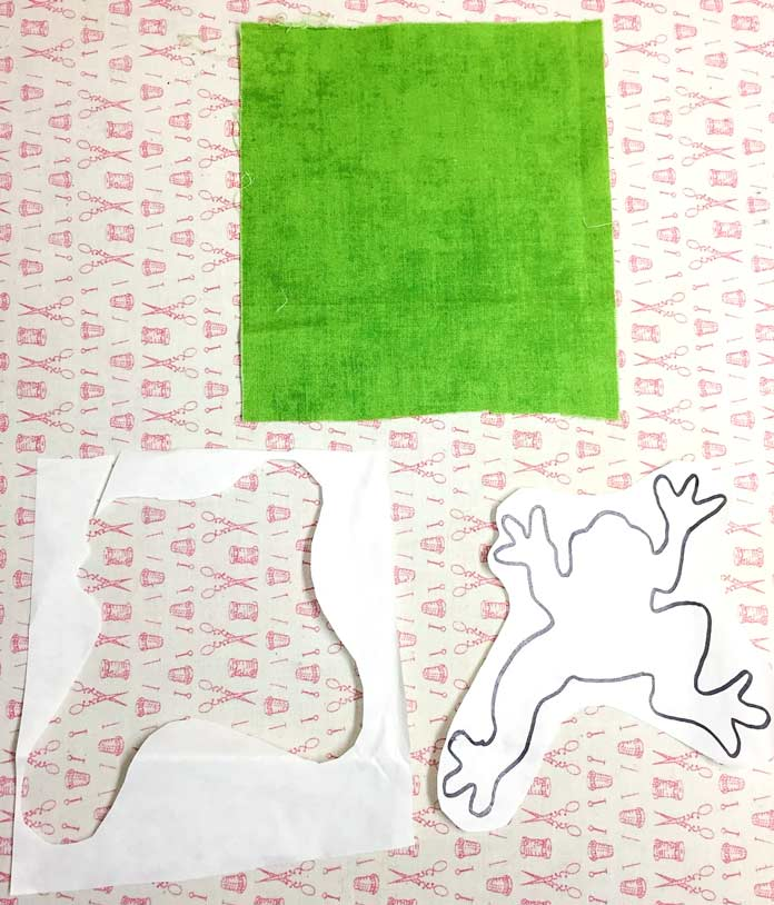 Applique fabric and design cut out roughly