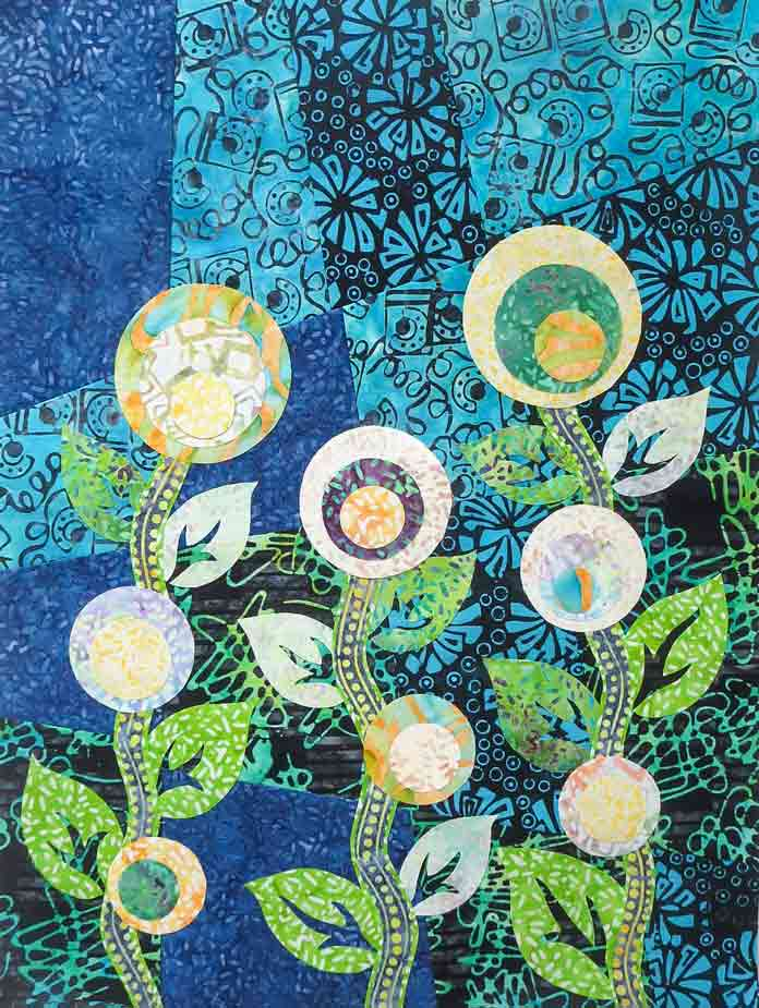 Wall quilt from a leftover block and scraps of Banyan Batiks for the flowers, stems and leaves