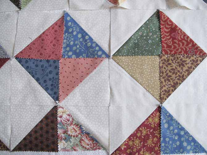 Half Square Triangles arranged in blocks design option 1 - Sunday QUILTing