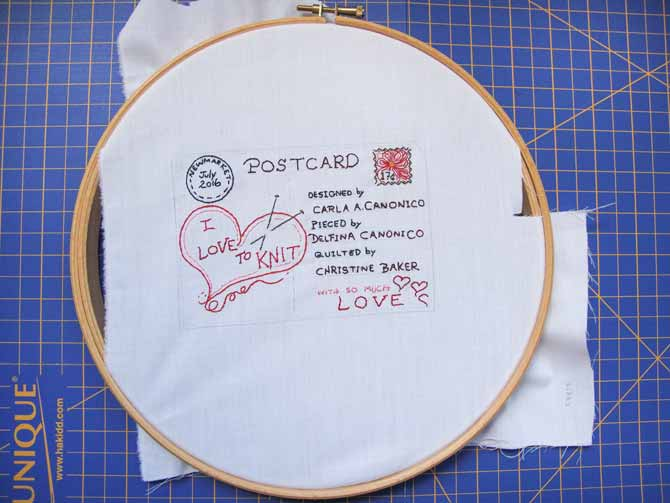 Draw your label in pencil, in hind sight, I should have used the erasable fabric markers, but lesson learned (I'm so old school - gees!) Then stitch it out using a simple stem stitch.