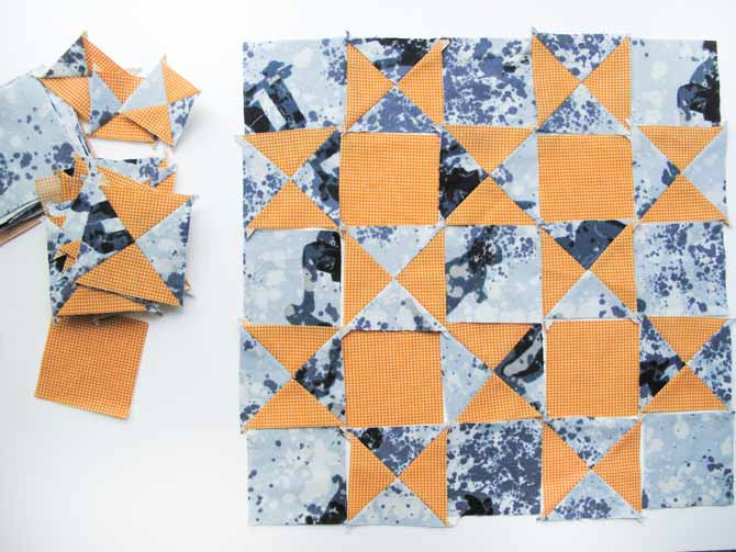 "A variation of the checkerboard quilt block, this is a 10"" quilt block with a lot more interest, using QSTs."