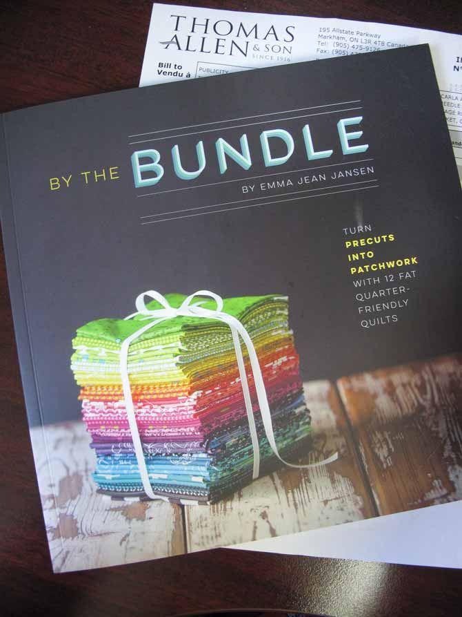 By the Bundle, a new book by Emma Jean Jansen, sent to me by Thomas Allen Publishing. It's filled with truly different modern quilt designs and certainly a lot of inspiration!