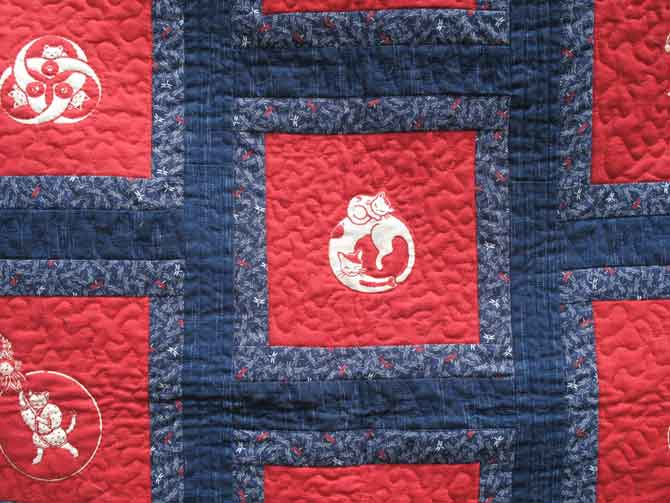 Cut out pieces of printed fabric and image embossed by quilting and following the outline of the image.