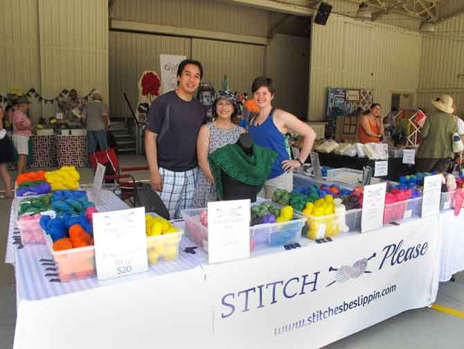 I had to take a picture with this super husband and wife team of Stitch Please Hand Dyed Yarn. Michelle and Paul Nguyen make the most yummy yarn ever! Michelle is a KNITmuch.com blogger!