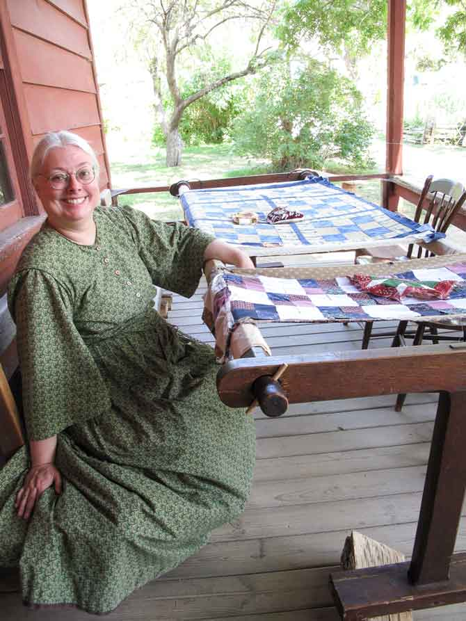 Quilter Nancy Kinsman, a member of the Canadian Quilters' Association, demonstrating hand quilting. I'd be smiling too if I had spent my whole day quilting! Lovely and talented lady.