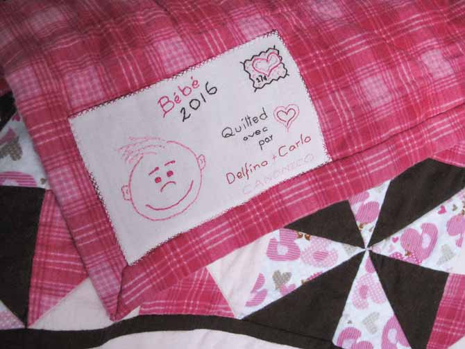 The adorable quilt label for the baby girl quilt