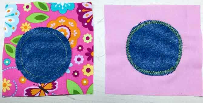 2 quilt blocks with a denim circle in the middle.