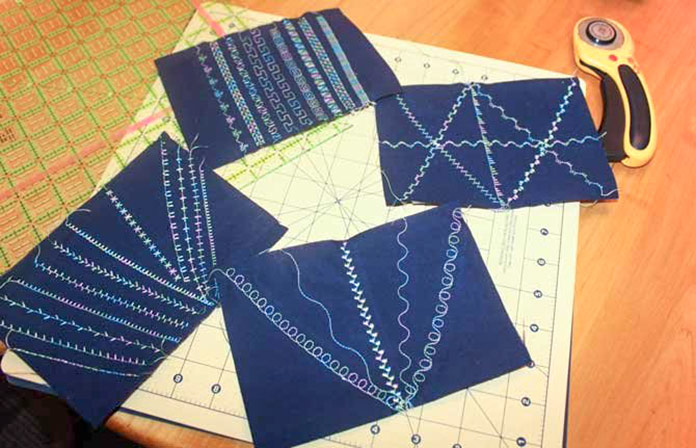 Four Postcard Fronts Ready to Trim..all of them with Quilting Stitches