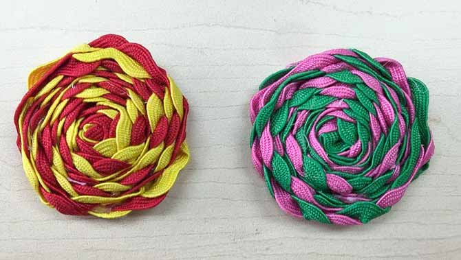 Two rick rack flowers for the Flower Power Pillow