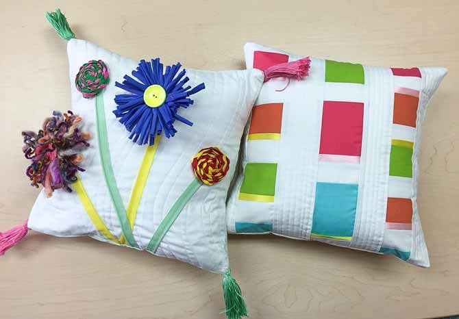Making 2 modern cushions using different techniques: modern patchwork and modern embellishing