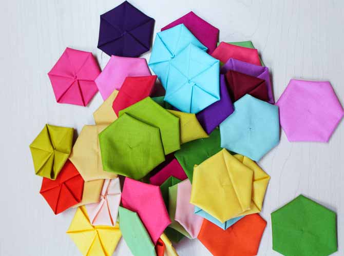 Fabric hexies ready to use.
