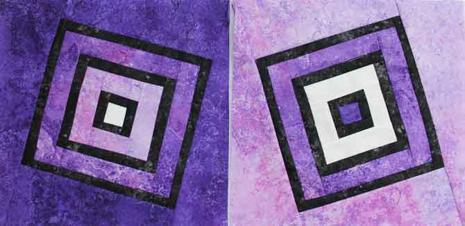 Two stained glass quilt blocks with a twist.