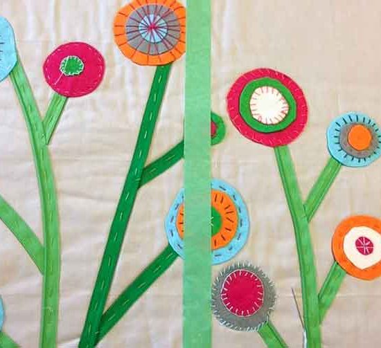 Put a piece of painters tape down quilt sandwich to help keep embroidery stitches straight.