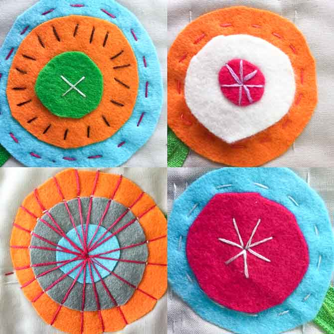 Do fun embroidery stitches on wool felt flowers.