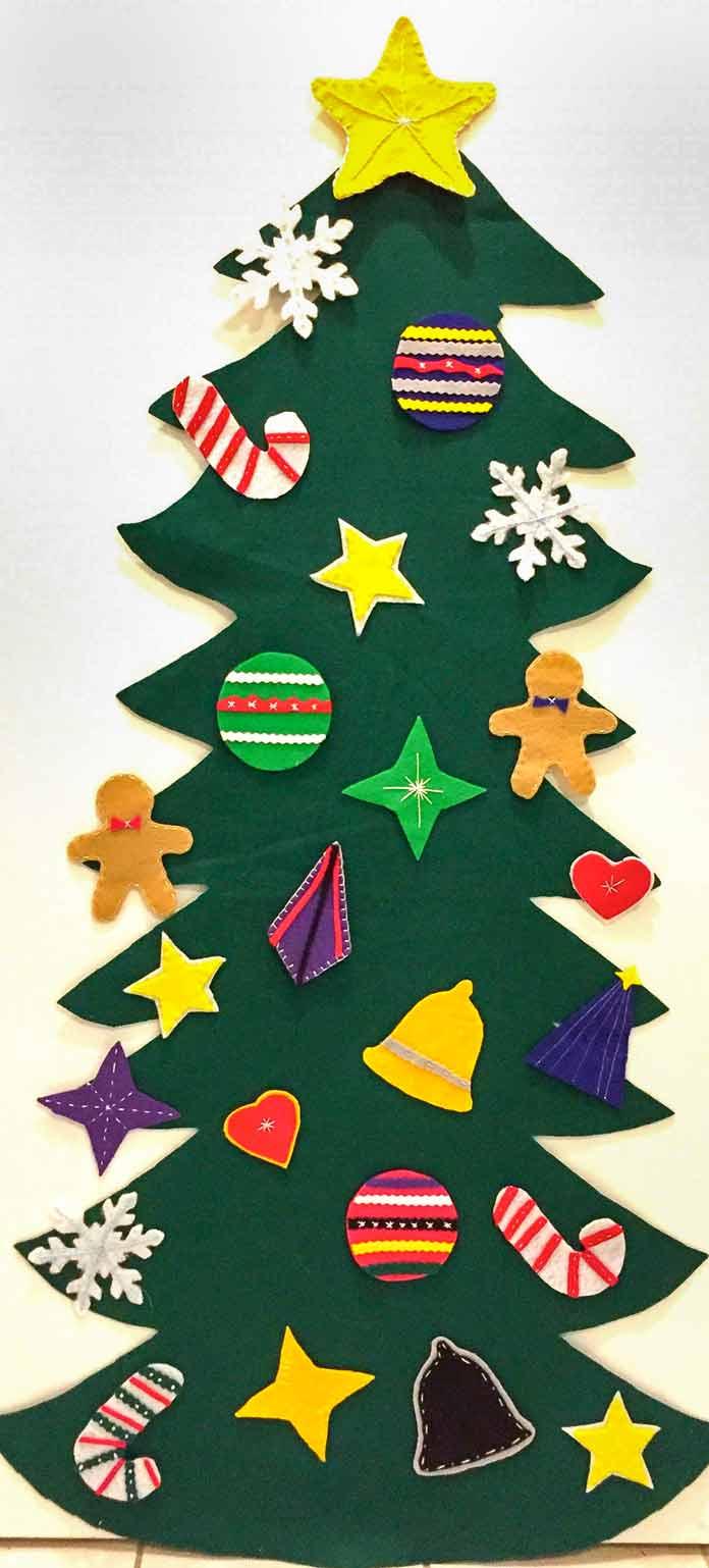 Felt Christmas tree for toddlers using Kunin Rainbow ClassicFelt and PrestoFelt, DMC Floss and Heirloom Quality Crewel Eye Embroidery Needles, Hi-tak Glue