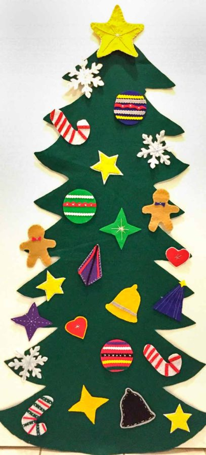 Felt Christmas tree for toddlers using Kunin Rainbow ClassicFelt and PrestoFelt, DMC Floss and Heirloom Quality Crewel Eye Embroidery Needles, Hi-tak Glue