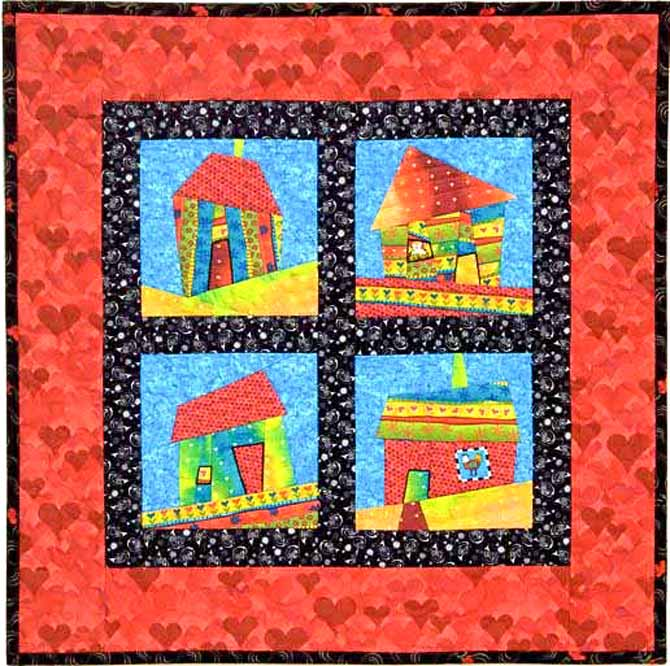 Hip Hop houses quilt by Jean Boyd with improv wonky houses