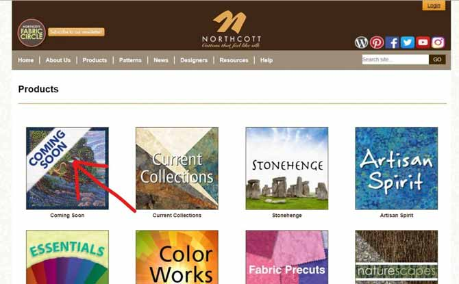 The Products section of the website