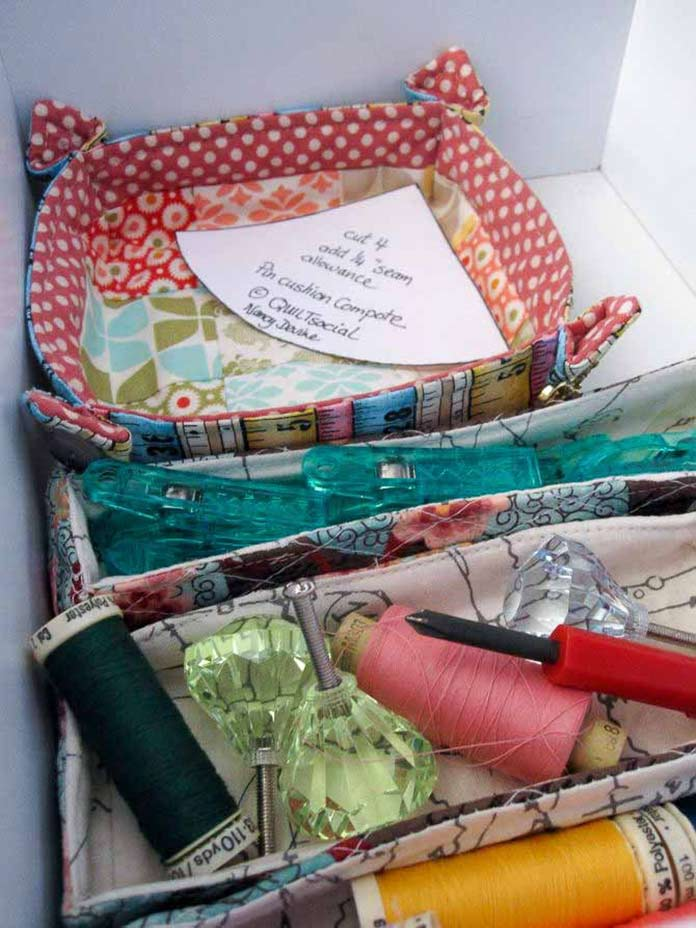 The inside story: a small drawer gets organized with baskets made from scraps.