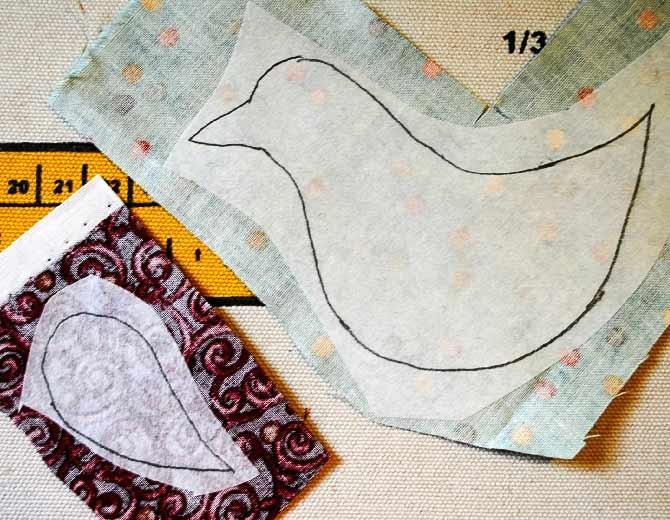 ironing fusible web onto backs of fabrics
