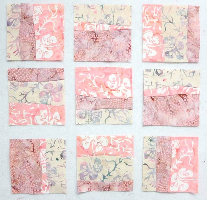 Arrange 15 quilt blocks in rows of 3 for the quilt top. Using Banyan Batiks Island Vibes fabric collection.