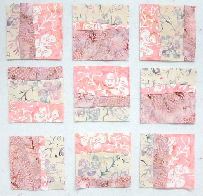 Arrange blocks in rows of 3 for the quilt top; Curved strip-piecing using Banyan Batiks Island Vibes creates a sweet baby quilt. Free pattern!!