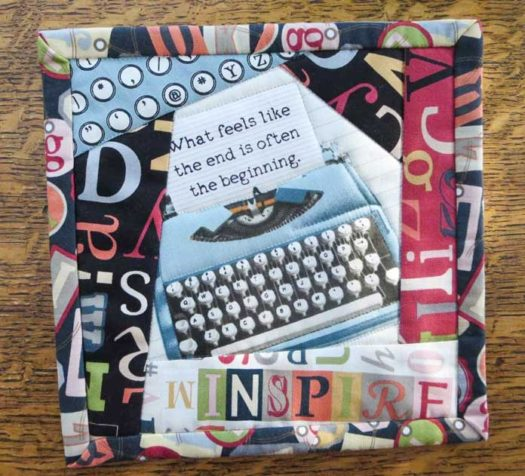 Finished Crazy Quilt mug mat