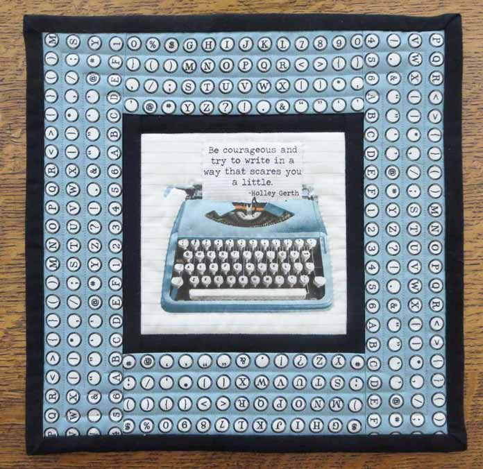 Finished typewriter mug mat