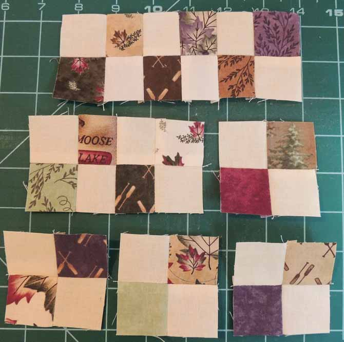 Sewing four patches into rows