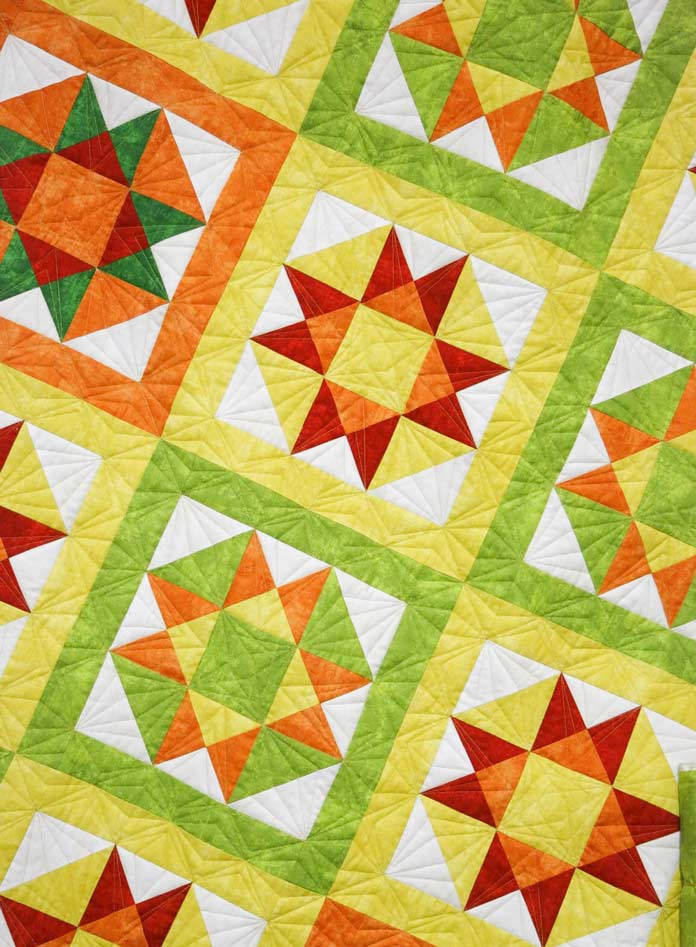 All quilted, it's a beauty! It's amazing how colors like these can banish the winter blahs.