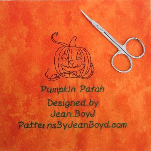 Label for the Pumpkin Patch quilt. Use manicure scissors to remove the jump stitches between the letters