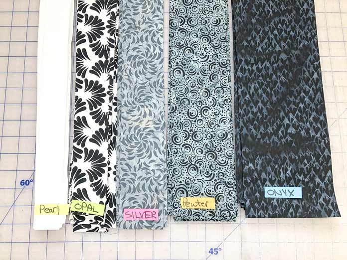 All 5 colorways of the enticing NEW Banyan Classics Collection labelled and lined-up in sewing order.