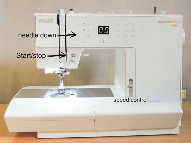 The PFAFF passport 3.0 sewing machine comes with great features such as needle down, start/stop, and speed control.