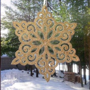 Lacy snowflake in the window