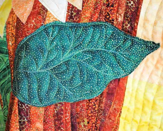 Large leaf quilting design