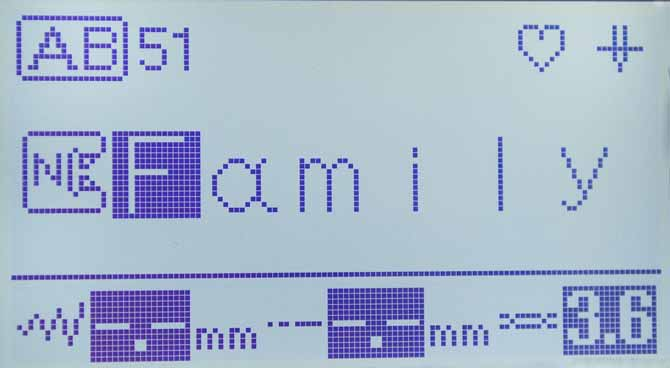 The LCD display on the Brother NQ900 shows the character stitches selected for the label.