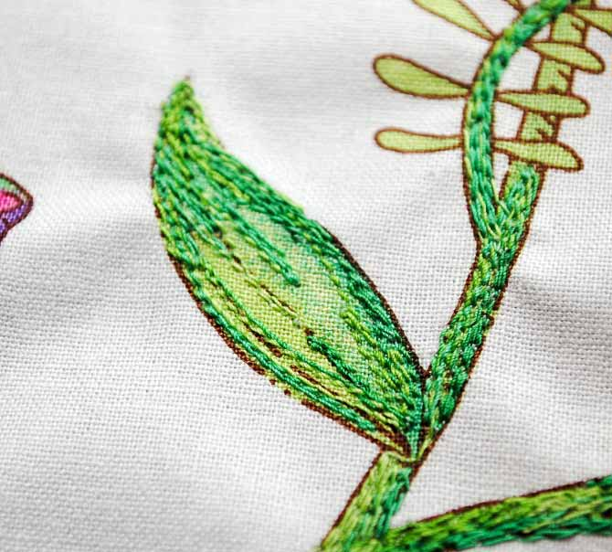 Stems and leaf stitched with straight stitch