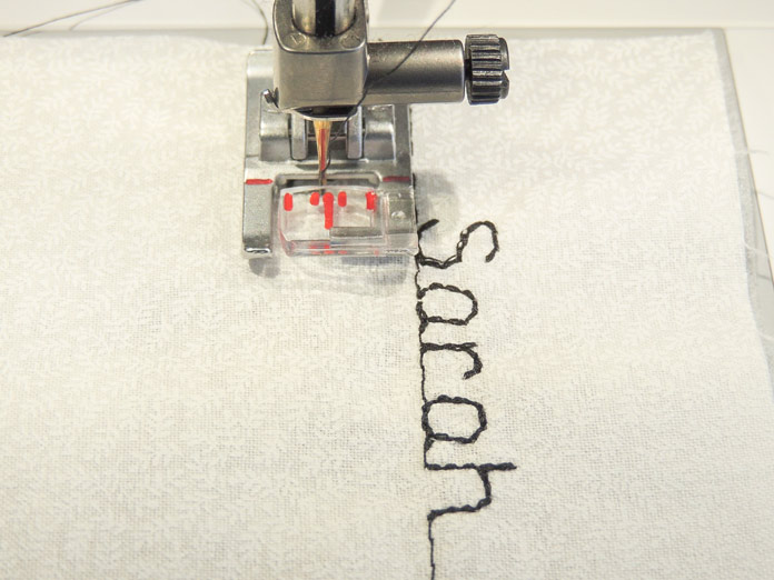 It's easy to line up the rows of fonts using the presser foot as a guide using the NEW PFAFF quilt expression 720.