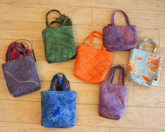 A sampling of my new quilted bags for my knitting projects.
