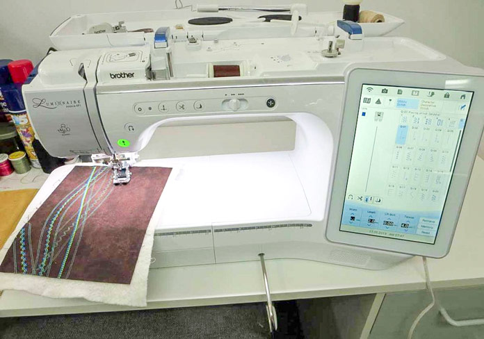 The Brother Luminaire sewing and embroidery machine ready for tomorrow's project!