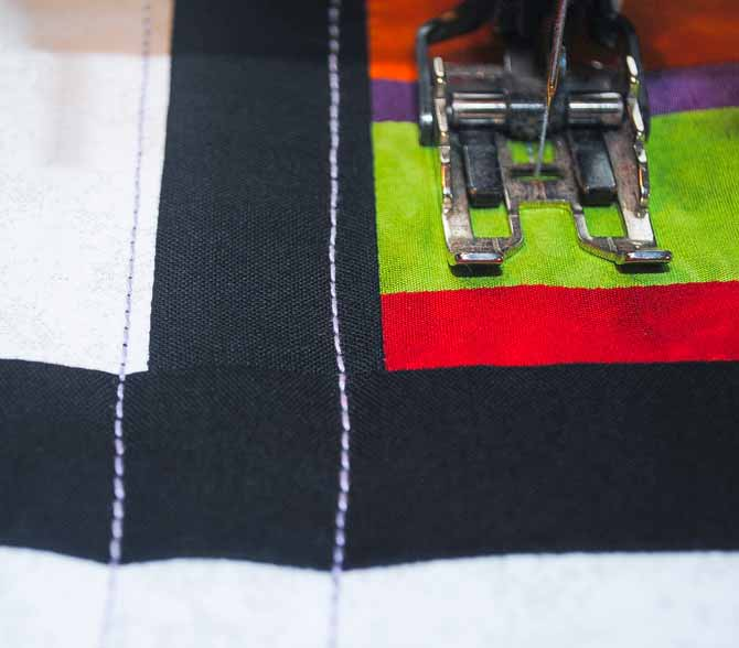 Machine quilting in wavy lines