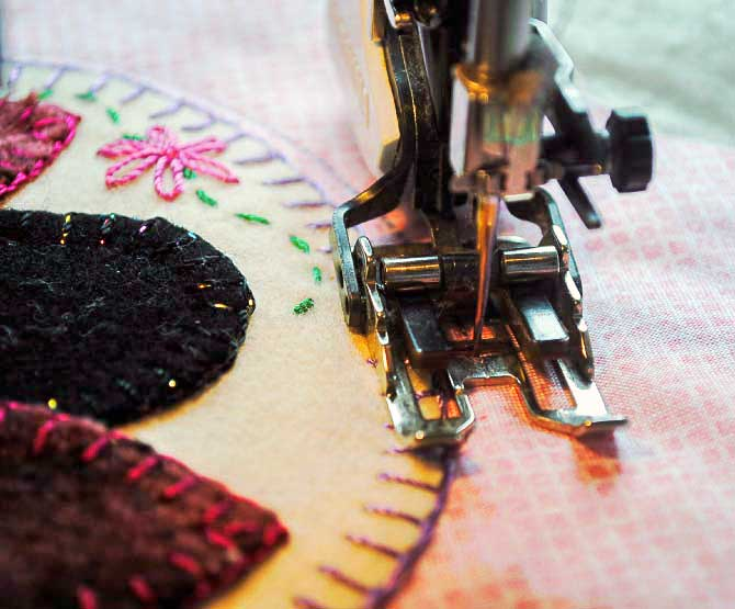 machine quilting with a walking foot and Spagetti thread