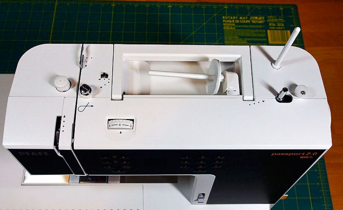 Top of the Pfaff Passport 2.0 sewing machine