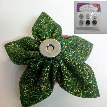 Magnetic snap on back of fabric flower