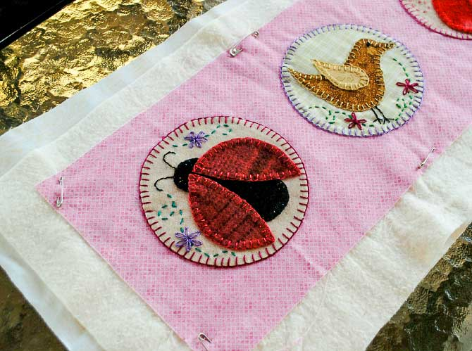 making the quilt sandwich