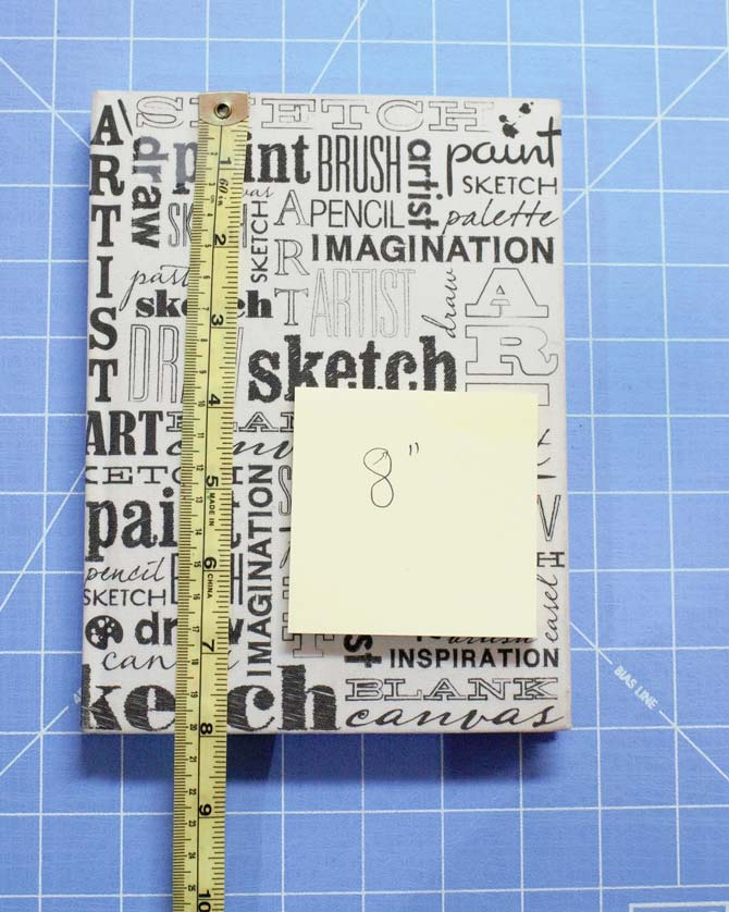 "Measure the height of the journal cover and add 1"" to the measurement."