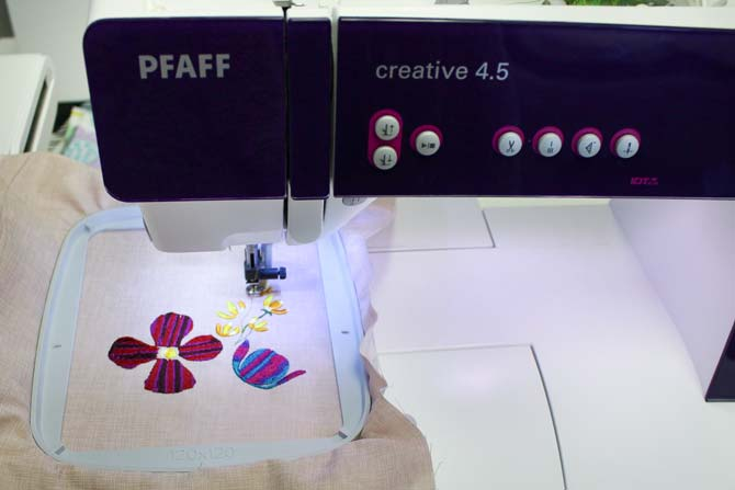 Machine embroidery on a PFAFF Creative 4.5 with WonderFil's rayon threads.
